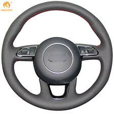 Mewant Black Genuine Leather Steering Wheel Cover Wrap for Audi Q3 Q5 2013-2015
