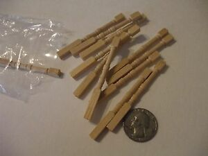 MINIATURE UNFINISHED WOODEN BALISTERS  12  PIECES