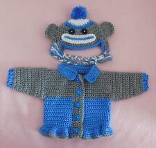 American Girl Doll Blue Sock Monkey Sweater Hat Fits Bitty Baby/Berenguer 15-17