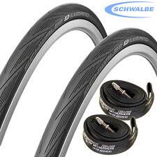 Schwalbe Lugano 700c x 25 Bike Tyres with Schwalbe Inner Tubes (Pair) - Black