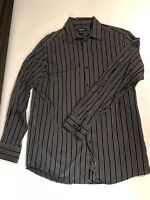 Clairborne Men's Long Sleeve Black Striped Button Up Shirt - Size Med - Cotton