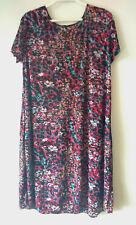 Womens Sz 14 Black Floral Print Tunic Dress S/S Light-Weight Wash & Wear VGC