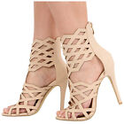 NEW WOMENS LADIES HIGH HEEL ZIP UP CAGED GLADIATOR ANKLE SANDALS SHOES SIZE 3-8