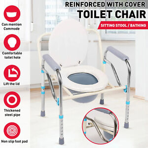 Foldable Mobile Adjustable Shower Toilet Bedside Commode Aids Chair Seat Potty