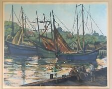 "Harry Shokler Original Silk Screen Print Boats Harbor ""Seaman All"" Signed 1942"
