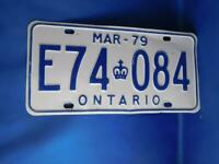 ONTARIO LICENSE PLATE 1979 MARCH E74 084 VINTAGE CANADA GARAGE CAR SHOP SIGN