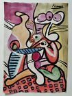 Pablo Picasso Painting Drawning Signed & Stamped Mixed Media on Paper Vintage