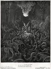 SATANA E GLI ANGELI RIBELLI TRASFORMATI IN DIAVOLI DELL'INFERNO.Doré.Milton.1887