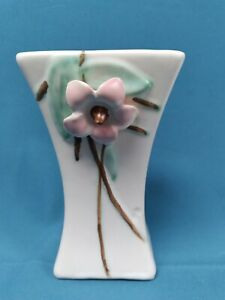 McCoy Pottery Blossom Time Vase #702 White with Pink Dogwood Flower