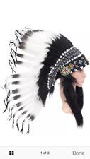 Indian Headdress Chief Real Feathers Bonnet Native American Karma Fancy Dress