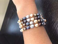 Sterling Silver 6.5-7.5mm 4-Strand Multicolor Baroque Genuine Pearl Bracelet