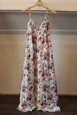 Vintage Floral Print Maxi Dress Chamisole Nightie Slip Size SMALL
