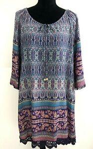 Caroline Morgan Dress Size 16 Multicoloured Shift Boho 3/4 Sleeves Lace Hemline