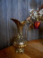 """Vintage Ornate small pitcher vase ITALY Shabby Chic for flowers Farmhouse 7"""" tal"""