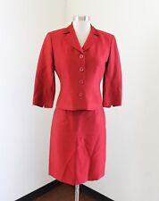 Alberto Makali Womens Red Striped Ribbed Embossed Skirt Suit Set Size 2