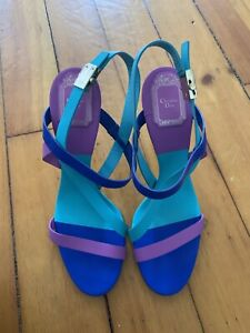 Authentic Christian Dior 38.5 Color Block Sandals Heels Euc