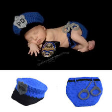 Newborn Baby Kid Crochet Knit Costume Photo Photography Prop Outfits Police