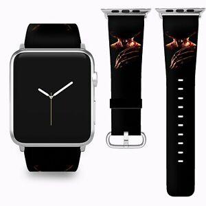 Halloween Freddy Krueger Apple Watch Band 38 40 42 44 mm Fabric Leather Strap