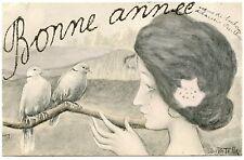 ILLUSTRATEUR  B .PATELLA. SéRIE FEMMES AUX OISEAUX.  ART NOUVEAU.