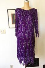 VTG Scala Beaded Dress 20s Flapper Gatsby Purple Sequin Dress