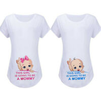 Women Maternity Summer Short Sleeve Tops Casual Cartoon T Shirt Pregnancy Blouse
