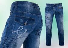 Herren Jeanshose Kosmo Lupo Dicke Nähte Clubwear Blau - 30 31 32  -