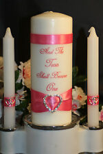 Rhinestone Silver Heart White Wedding Unity Candle & Tapers