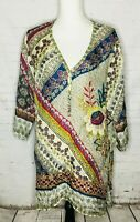 Johnny Was 100% Silk Red Blue Green Floral Tunic Top Large V Neck Boho Henley
