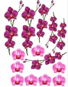 Edible Cupcake Top- 14 purple ORCHID FLOWER  - Wafer/ Rice Paper or Icing