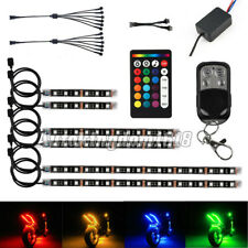 12Pcs Motorcycle RGB 144LED Neon Under Glow Lights Strip Kit For Harley Davidson