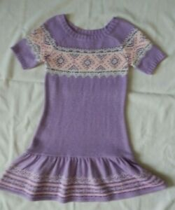 JUSTICE GIRLS SIZE 12 LAVENDER  / SEQUINS GLITTER SHORT SLEEVE SWEATER DRESS -