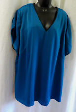 The Limited Plus Blouse Size 2 XL NWOT Blue Beaded V Neck Polyester Blend Cap Sl