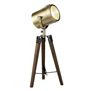 Tripod Dark Wood Base Antique Brass Stage Light Adjustable Head H47cm RRP £28