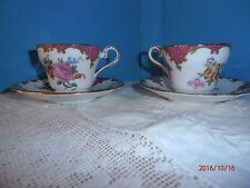 Set of 2 Aynsley Demitasse Cups and Saucers Claridge Dark Pink Gold Trim Scrolls