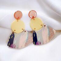 Fashion Acrylic Pink Round Earrings Drop Geometric Contrast Color Women Jewelry