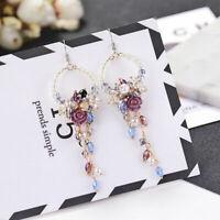 Korean Women Flower Crystal Rhinestone Pearl Dangle Stud Earrings Jewelry Gift