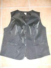 Viskose Damenweste Gr.48 Grau mit glitzerzeffekt Damenwesten Weste waistcoat