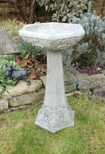 Stone Bird Bath stone garden ornament stunning design heavy 30kg 62 cm high
