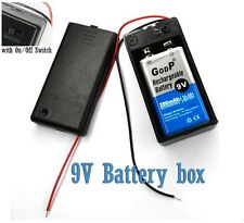 """5 x Battery Holder Case box  9V Volt Size with lid On Off Switch 6"""" Lead A408"""