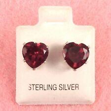 Sterling Silver - 8mm Heart CZ Simulated Ruby Earrings (SE341)