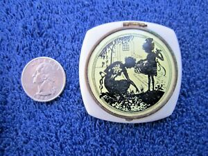 VINTAGE WHITE PLASTIC COMPACT WITH BLACK SILHOUETTE  DESIGN