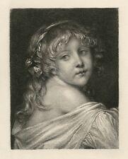 "Ernst Carl Forberg / Jean-Baptiste Greuze etching ""Head of a Child"""