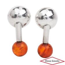 Estate Amber Sterling Silver Bead Drop Stud Earrings NR