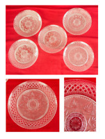 """VINTAGE Indiana Glass 8"""" Plates Clear Embossed Weave Fan Set of 5"""