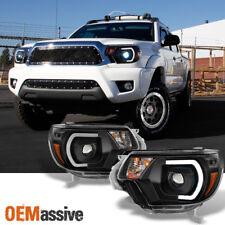 *PRO U-Bar Mono-Eye Style* 12-15 Tacoma LED DRL Strip Black Projector Headlights