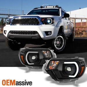 *PRO U-Bar Mono-Eye Style* Fits 12-15 Tacoma LED Strip Black Projector Headlight