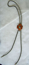 Bolo Tie With Copper Slide and Turquoise Colored Stones / Black & White Braid