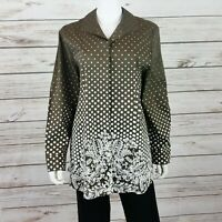 Chicos Womens Tunic Size 3 Brown White Polka Dots Stretch Button Up Long Sleeve