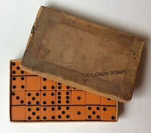 GENUINE CATALIN DEEP BUTTERSCOTCH DOMINOES SET OF 28 W/ORIGINAL BOX