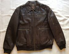 Danier Leather Insulated Flight Bomber Military Jacket Brown Men's Size: XL